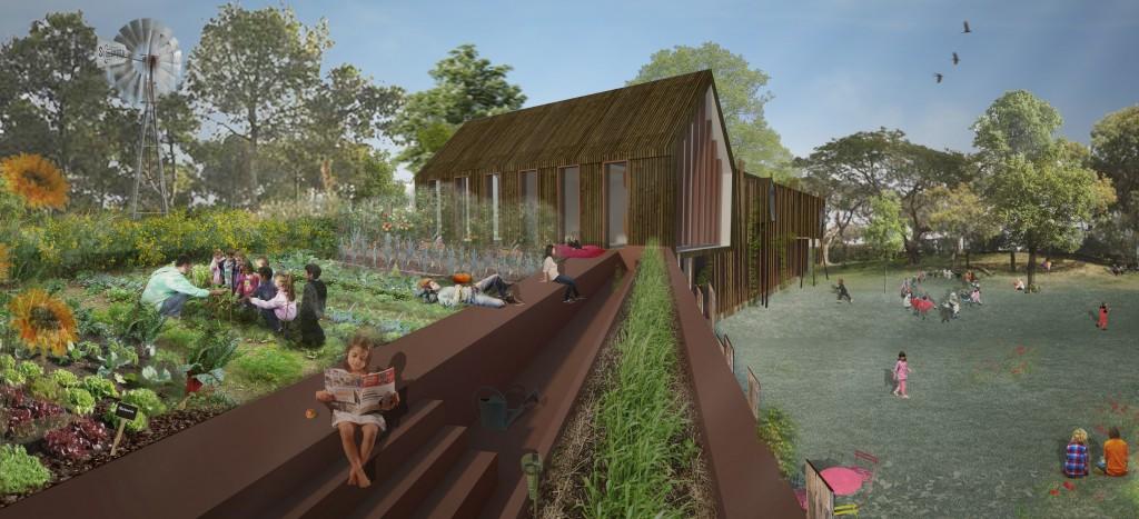 Vue du jardin du futur centre de vacances